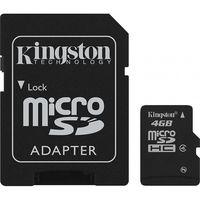 Карта памяти MicroSD Kingston 4GB SDHC Clas 4+SD adapter