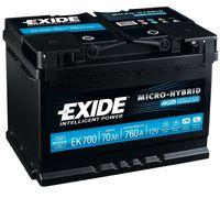 **АКБ Exide Start-Stop AGM 12V 70Ah 760EN 278x175x190 -/+, EK700