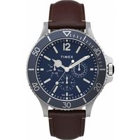 Harborside Multifunction 43mm Leather Strap Watch