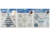Наклейки новогодние на окно 22X27.5cm, бело-голубые