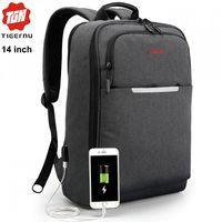 Рюкзак городской Tigernu T-B3305 с отделением для ноутбука 14'', с USB-портом, водонепроницаемый, тёмно-серый