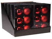 Set globuri 6X65mm, 3mate, 3lucioase, rosu clasic, in cutie