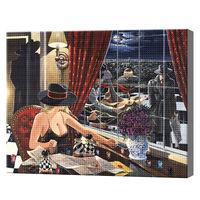 Загадочная девушка в ресторане, 40x50 см, aлмазная мозаика