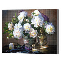 Букет белых пионов, 40x50 см, aлмазная мозаика