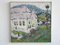 Монастырь в Рославице (Словакия). 50x50см., холст, масло