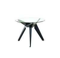 купить Круглый стол со стеклянной поверхностью, металлическими ножками, 900х750 мм, черный в Кишинёве