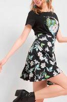 Юбка ORSAY Черный в цветочек 723026