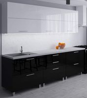 Bucătărie Bafimob Blum (High Gloss) 2.4m White/Black