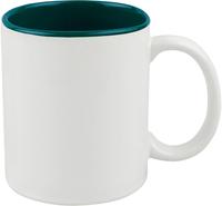 Кружка для сублимации белая, темно-зеленая внутри 11oz