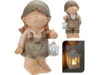 Мальчик/девочка декоративные с фонарем H50cm, 27X24cm