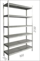купить Стеллаж металлический с металлической плитой - 900x305x2130 мм, 6 полок/MB в Кишинёве