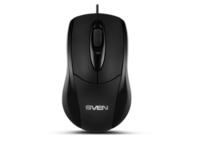 Mouse SVEN RX-110, Optical, 1000 dpi, 3 buttons, Ambidextrous, Black, USB+PS/2
