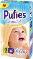 Pufies scutece Sensitive 4, 7-14 kg, 56 buc.