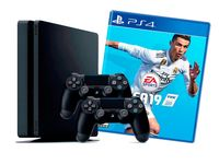 Game Console Sony PlayStation 4 Slim 1TB Black, 2 x Gamepad (Dualshock V2) + CD FIFA 2019