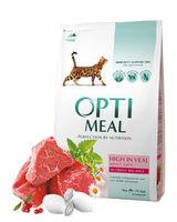 Optimeal  для взрослых кошек - телятина ,4кг