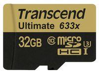 Transcend microSDHC 32Gb Class 10 UHS-I + SD adapter (TS32GUSDU3)