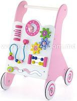 3ToysM J3 50178 Деревянные ходунки с игровым центром розовый