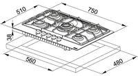 Plită incorporabilă cu gaz Franke FHNE 755 4G TC XS C