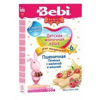 Bebi Premium каша пшеничная молочная для полдника с печеньем, малиной и вишней, 6+мес. 200г