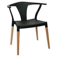 купить Пластиковый стул, деревянные ножки 560x675x750 мм, черный в Кишинёве
