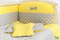 Set lenjerie Confort stele gri cu galben 9 piese