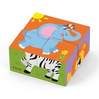 4pcs 6-side Cube Puzzle - Wild animal