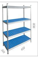 Raft metalic galvanizat cu placă din plastic Moduline 600x325x1830 mm, 4 polițe/PLB