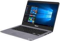 """NB ASUS 14.0"""" S410UA Grey (Core i3-7100U 4Gb 256Gb) 14.0"""" Full HD (1920x1080) Non-glare, Intel Core i3-7100U (2x Core, 2.4GHz, 3Mb), 4Gb (OnBoard) PC4-17000, 256Gb M.2, Intel HD Graphics, HDMI, 802.11ac, Bluetooth, 1x USB 3.1 Type C, 1x USB 3.0, 2x USB 2.0, Card Reader, Webcam, Fingerprint, Endless OS, 3-cell 42 WHrs Battery, Illuminated Keyboard, 1.4kg, Grey Metal"""