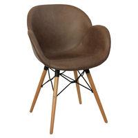 купить Пластиковый стул с обивкой, деревянные ножки 600x580x840 мм, коричневый в Кишинёве