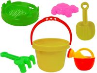 Набор игрушек и сито для песка в ведерке с крышкой 6ед, 13X
