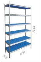 купить Стеллаж металлический с пластиковой плитой 1490x505x2440 мм, 6 полок/PLB в Кишинёве