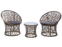 Комплект плетеной мебели: столик и 2 кресла,коричневые