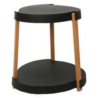 cumpără Masuţă de cafea cu suprafața din plastic, picioare lemn, în două nivele, cu rotile 545x610 mm, negru în Chișinău