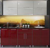 Кухонный гарнитур Bafimob Modern (High Gloss) 2.0m no glass Beige/Bordo