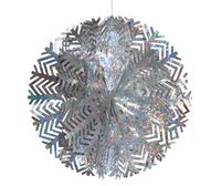 Снежинка-шар серебряная из фольги 40сm