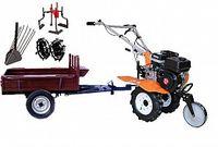 Set motocultivator TECHNOWORKER HB 700N+Remorca RK500 + plug cartofi + roti metalice 4*8 + prasitoare