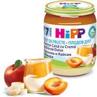 Hipp пюре персик, абрикос с творогом, 7 мес, 160 гр