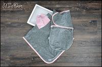 Набор Mi-e Dor велюровый (плед,кокон на липучках, шапочка) розовый