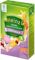 Heinz Лакомая каша пшенично-кукурузная молочная персик, банан и вишенка, 6+мес. 200г