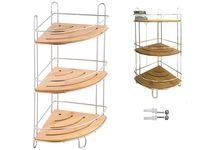 Raft de colt cu 3 nivele, bambus/metal