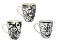 """Чашка конус """"цветы"""" черно-белая 330ml"""