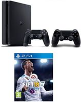 Game Console Sony PlayStation 4 Slim 1TB Black, 2 x Gamepad (Dualshock 4) + CD FIFA 2018