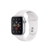 Apple Watch SE 44mm Silver Aluminum Case with Black Sport Band, MYDQ2