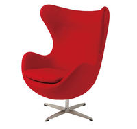 Кресло обитое, пластиковое с металлической ножкой 760x730x890 мм, красное
