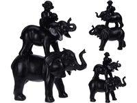 Статуэтка Два слона и обезьяна 36X32X14cm, керамика, черный
