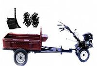 Set motocultivator TECHNOWORKER HB 700RS PRO+Remorca RK500 + plug reglabil + roti metalice 4*8