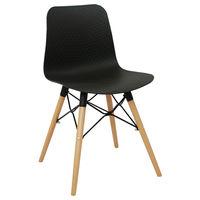 купить Пластиковый стул, деревянные ножки с металлической опорой 470x450x795 мм, черный в Кишинёве