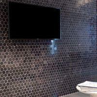 Mozaic Marmura Nero Marquina Hexagon Polisata 2.5 x 2.5 cm