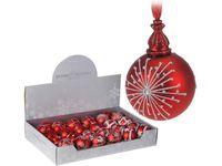 купить Шар елочный стеклянный с орнаментом 60mm красный матовый в Кишинёве