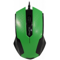Mouse Qumo M14, Optical,1000 dpi, 3 buttons, Ambidextrous, Green, USB